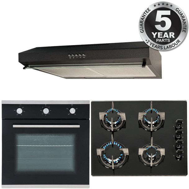 SIA Black 60cm Electric Single Fan Oven, 4 Burner Gas Hob And Visor Cooker Hood