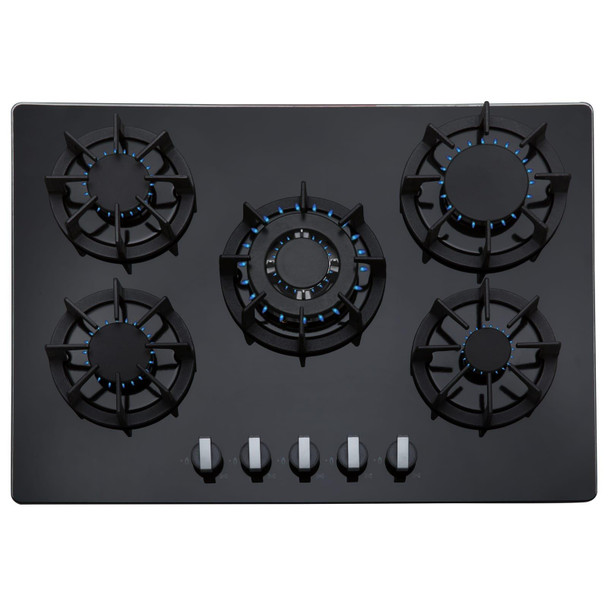 SIA 70cm 5 Burner Black Glass Gas Hob With Cast Iron Pan Stands And Wok Burner