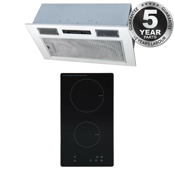 SIA 30cm Black Domino 2 Zone Electric Induction Hob And 52cm Canopy Cooker Hood