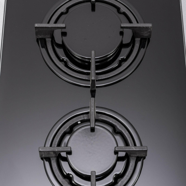 SIA 30cm Black 2 Burner Gas On Glass Hob & 60cm Cooker Hood Visor Extractor Fan