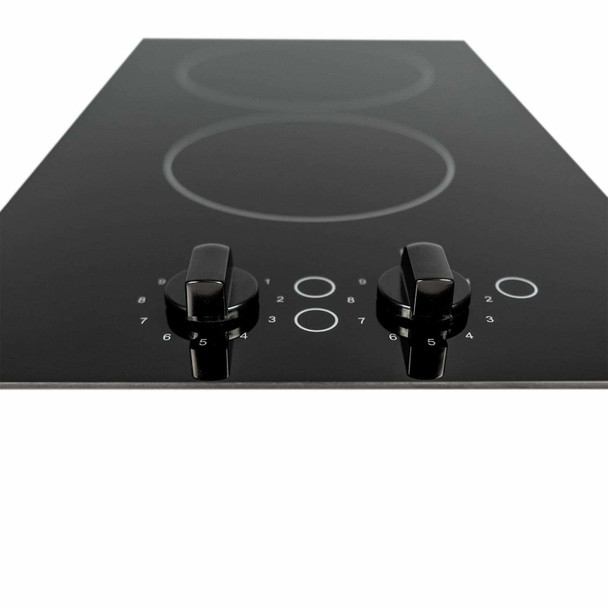SIA 30cm Black 2 Zone Electric Domino Ceramic Hob & 50cm Visor Cooker Hood Fan