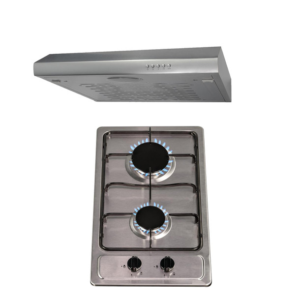 SIA 30cm Stainless Steel 2 Burner Gas Hob & 60cm Visor Cooker Hood Extractor Fan