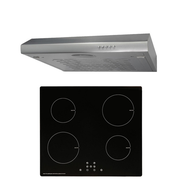 SIA 60cm Black 4 Zone 13amp Plug In Induction Hob And Silver Cooker Hood Visor