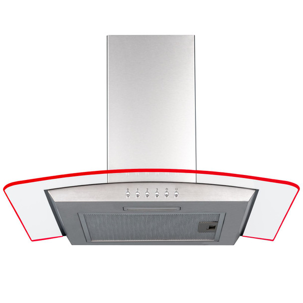SIA 60cm 3 Colour LED Stainless Steel Curved Glass Cooker Hood & 3m Ducting Kit