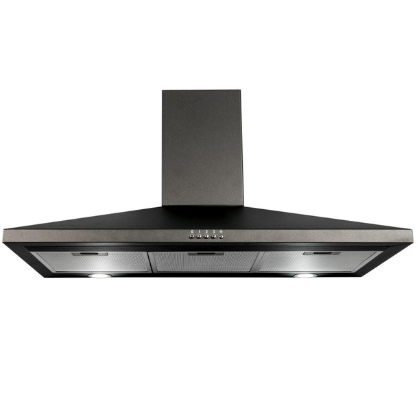 SIA 90cm Black 5 Burner Gas On Glass Hob And Chimney Cooker Hood Extractor Fan
