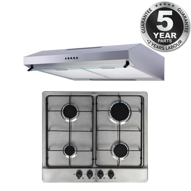 SIA 60cm 4 Burner Gas Hob & Stainless Steel Slim Cooker Hood Visor Extractor Fan