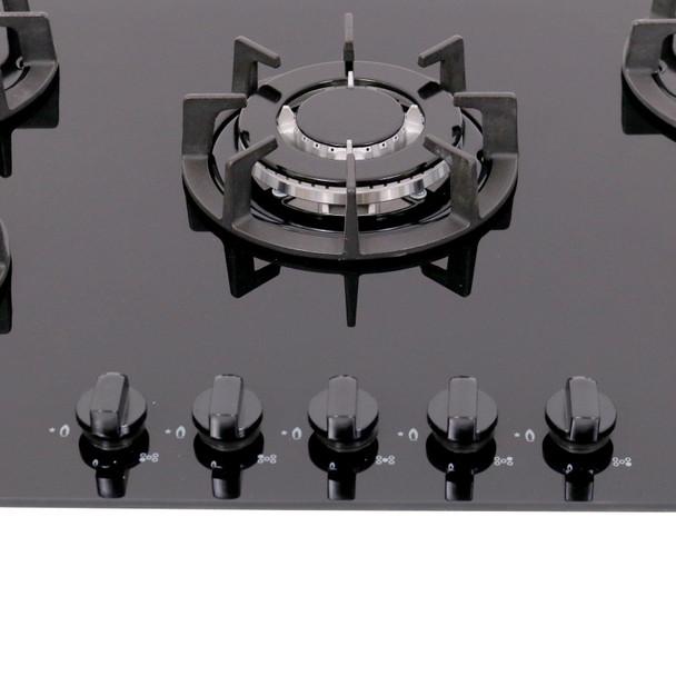 SIA 90cm Black 5 Burner Gas On Glass Hob And Curved Angled Glass Cooker Hood Fan