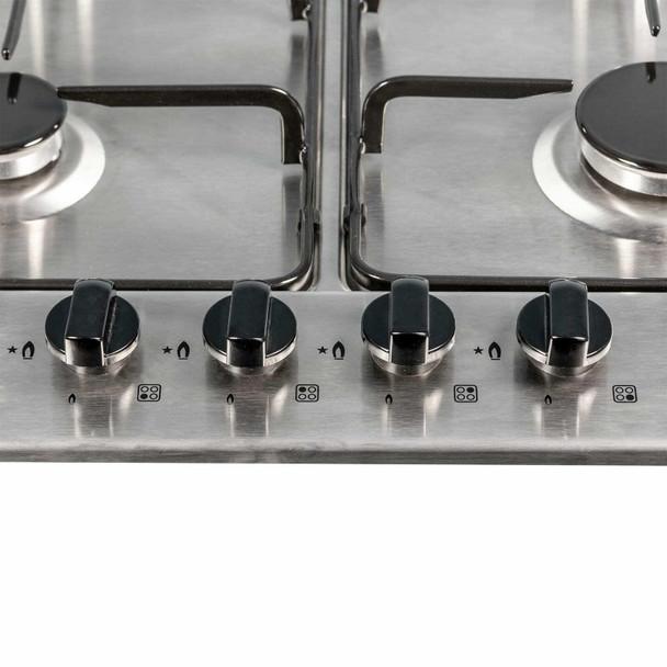 SIA 60cm 4 Burner Gas Hob & Stainless Steel Slim Visor Cooker Hood Extractor Fan