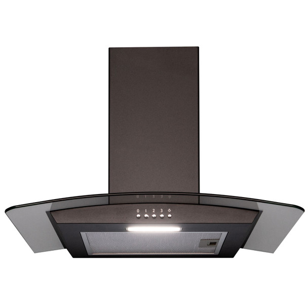 SIA 60cm Black 4 Burner Gas On Glass Hob & Curved Glass Cooker Hood Extractor