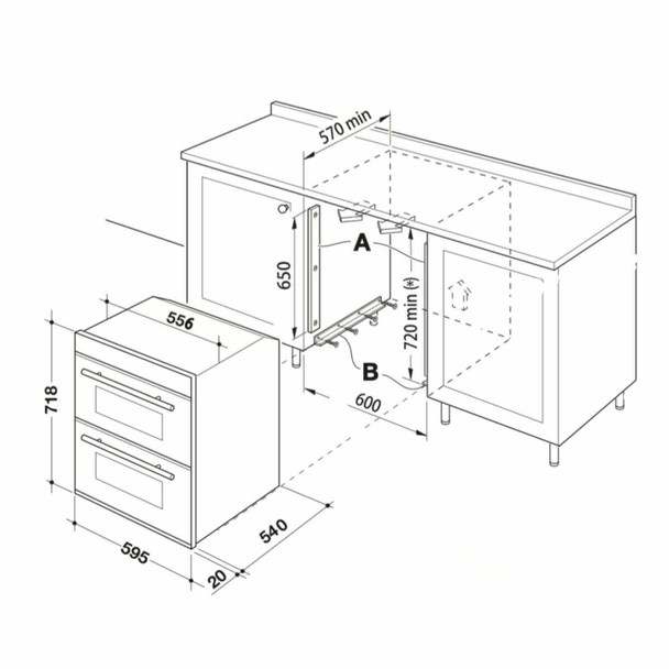 SIA 60cm Electric Built Under Fan Oven, 4 Burner Gas Hob & Cooker Hood Extractor