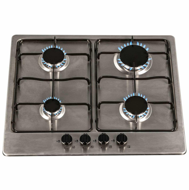 SIA 60cm Double Built In Fan Oven, 4 Burner Stainless Steel Gas Hob & Extractor