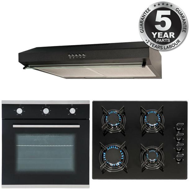 SIA 60cm Black Electric Single Fan Oven, 4 Burner Gas Hob & Visor Cooker Hood
