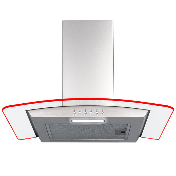 SIA 60cm 3 Colour LED Curved Glass Cooker Hood Extractor Fan In Stainless Steel