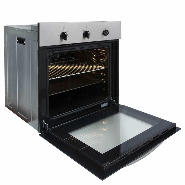 SIA 60cm Stainless Steel Single Oven, 4 Zone Induction Hob And Visor Cooker Hood
