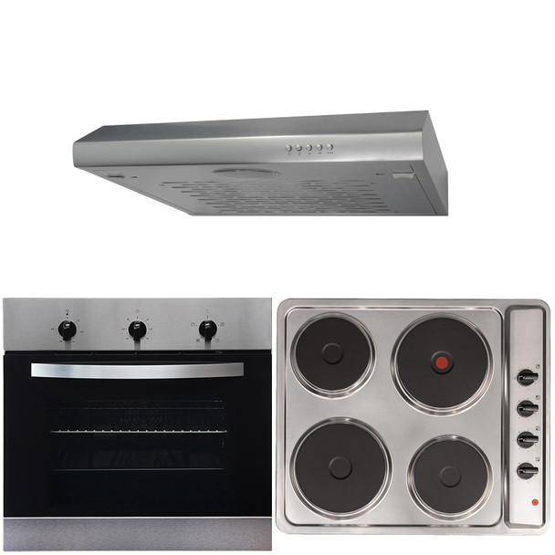 SIA 60cm Electric True Fan Single Oven, 4 Zone Plate Hob & Visor Cooker Hood Fan