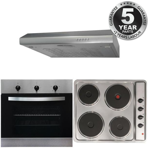 SIA 60cm Electric True Fan Single Oven, 4 Zone Plate Hob & Visor Cooker Hood Fan