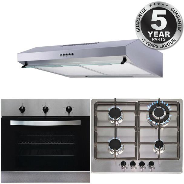 SIA 60cm Stainless Steel Electric Fan Oven, 4 Burner Gas Hob & Cooker Hood Visor