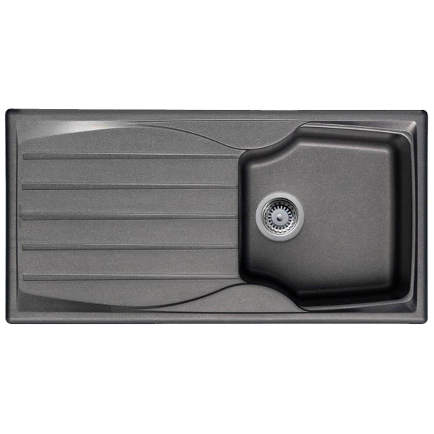 Graphite Grey 1.0 Bowl Kitchen Sink With Reversible Drainer And Pop Up Waste Kit