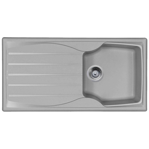 Light Grey 1.0 Bowl Kitchen Sink With Reversible Drainer And Pop Up Waste Kit