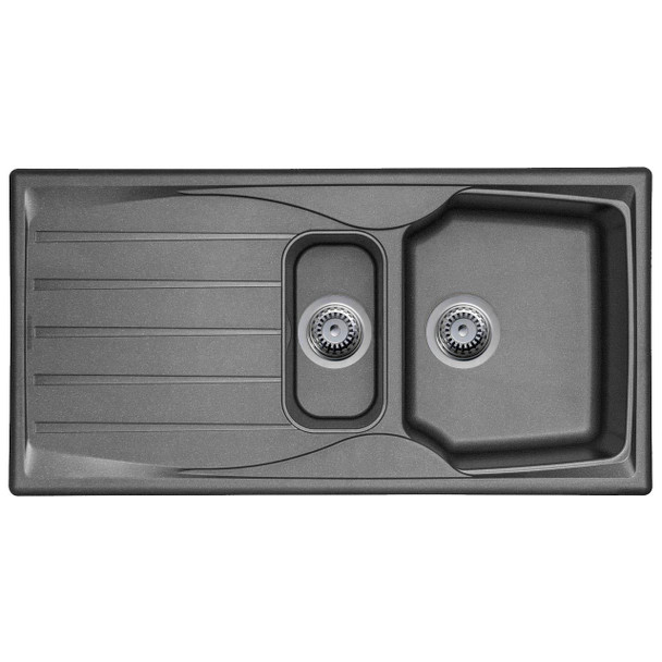 Graphite Grey 1.5 Bowl Kitchen Sink With Reversible Drainer And Pop Up Waste