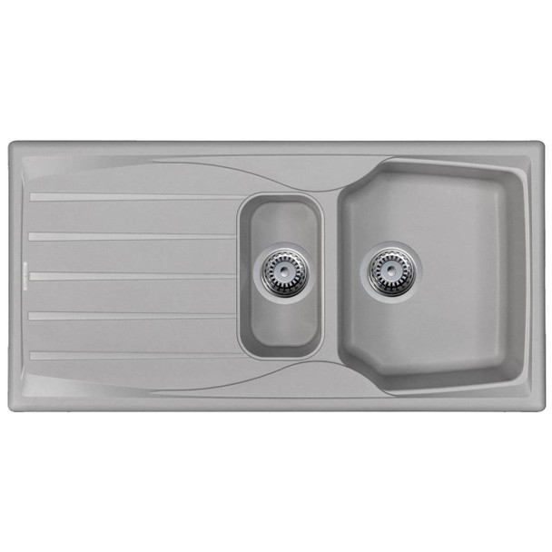 Light Grey 1.5 Bowl Kitchen Sink With Reversible Drainer And Pop Up Waste Kit