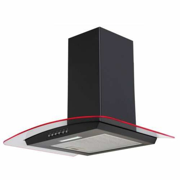 SIA CPLE70BL 70cm Black 3 Colour LED Edge Curved Glass Cooker Hood & 1m Ducting