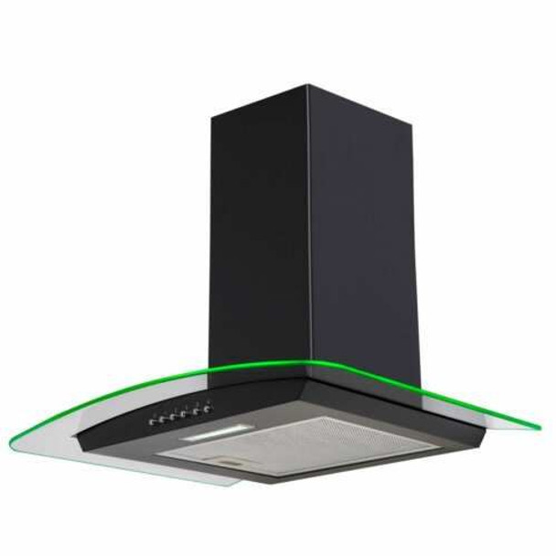 SIA CPLE70BL 70cm Black 3 Colour LED Edge Curved Glass Cooker Hood & 3m Ducting