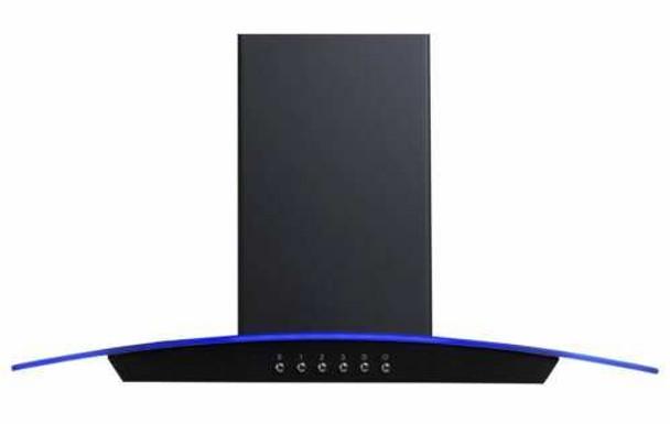 SIA CPLE70BL 70cm Black 3 Colour LED Edge Curved Glass Cooker Hood Fan & Filter