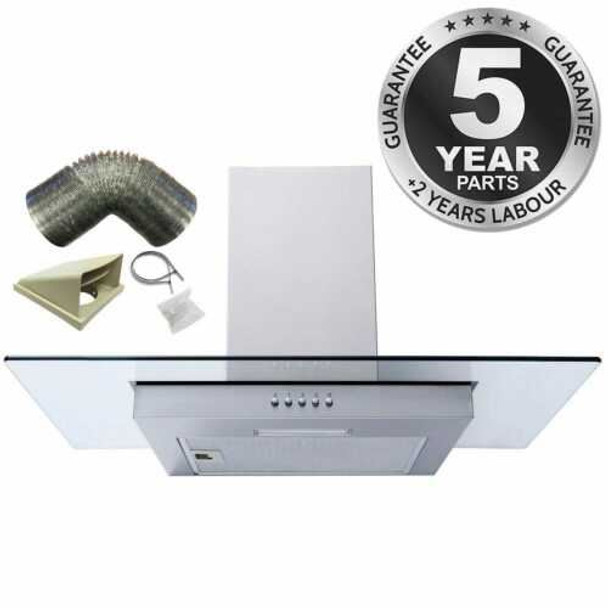 SIA FL70SS 70cm Flat Glass Stainless Steel Chimney Cooker Hood Fan & 1m Ducting