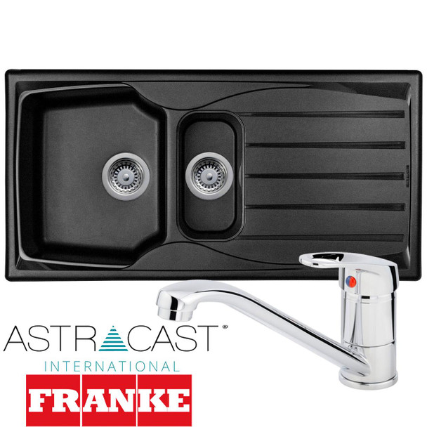 Astracast Sierra 1.5 Bowl Black Kitchen Sink And Franke Zeno Chrome Mixer Tap
