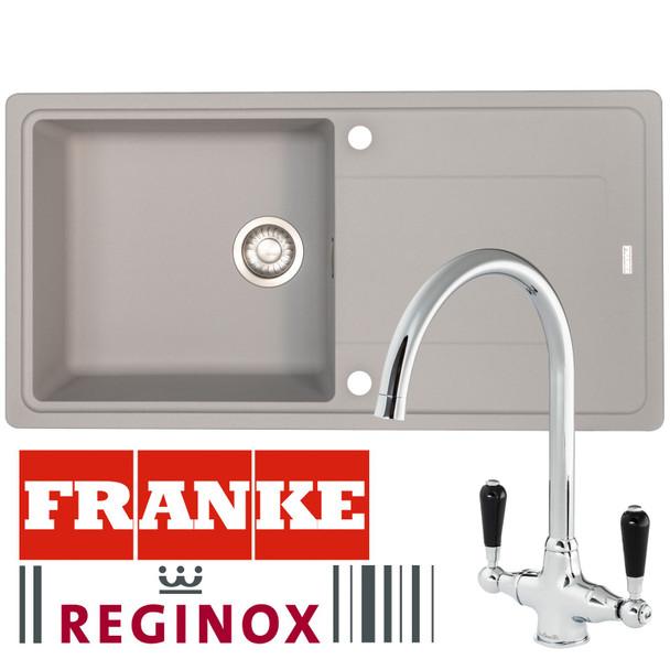 Franke Gemini 1 Bowl Grey Tectonite Kitchen Sink And Reginox Brooklyn Mixer Tap