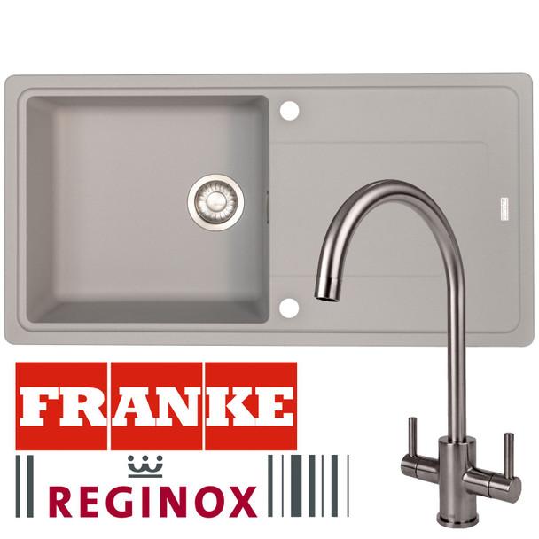 Franke Gemini 1 Bowl Grey Tectonite Kitchen Sink & Reginox Genesis Swan Neck Tap