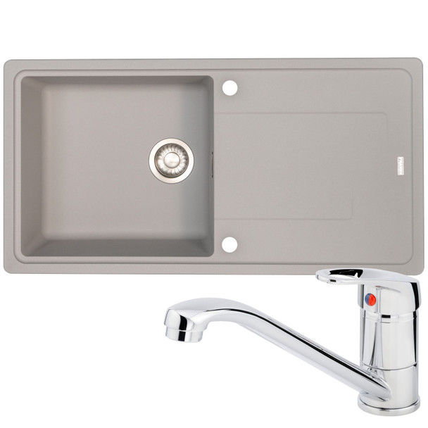 Franke Gemini 1 Bowl Grey Tectonite Reversible Kitchen Sink And Zeno Chrome Tap