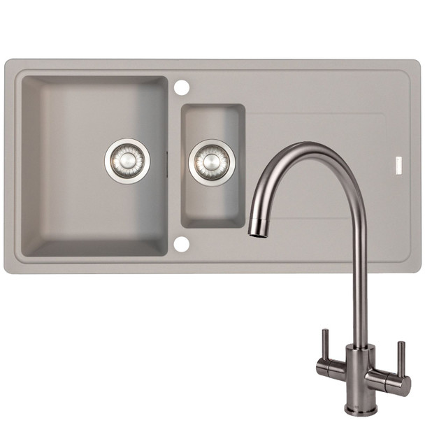 Franke Gemini 1.5 Bowl Grey Tectonite Kitchen Sink And Reginox Genesis Mixer Tap