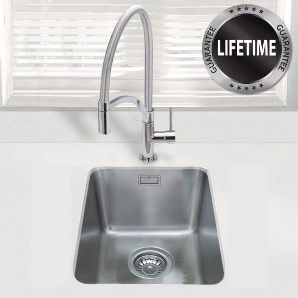 SIA 1.0 Bowl Undermount Stainless Steel Kitchen Sink With Waste Kit  W390xD450mm