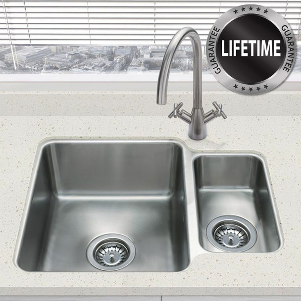 SIA 1.5 Bowl Undermount Stainless Steel Kitchen Sink And Waste Kit W580 x D450mm