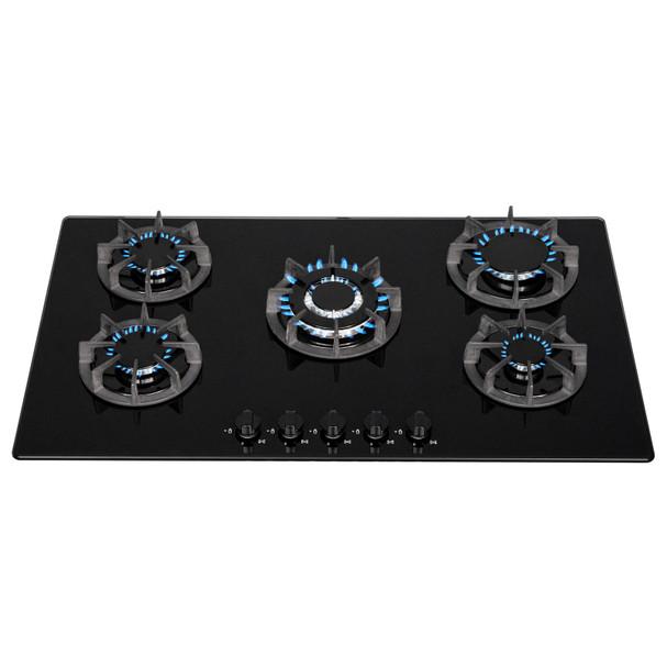 SIA BGH90BL 90cm Black 5 Burner Gas On Glass Hob | Cast Iron Supports | LPG Kit