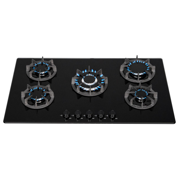 SIA BGH90BL 90cm Black 5 Burner Gas On Glass Hob | Cast Iron Supports | LPG Kit