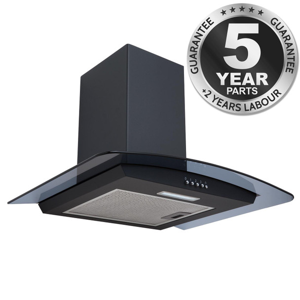 SIA CGHS60BL 60cm Black Smoked Curved Glass Cooker Hood Kitchen Extractor Fan