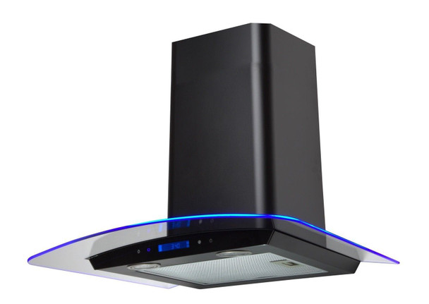 SIA 60cm Black Touch Control LED Edge Lit Curved Glass Cooker Hood Extractor Fan