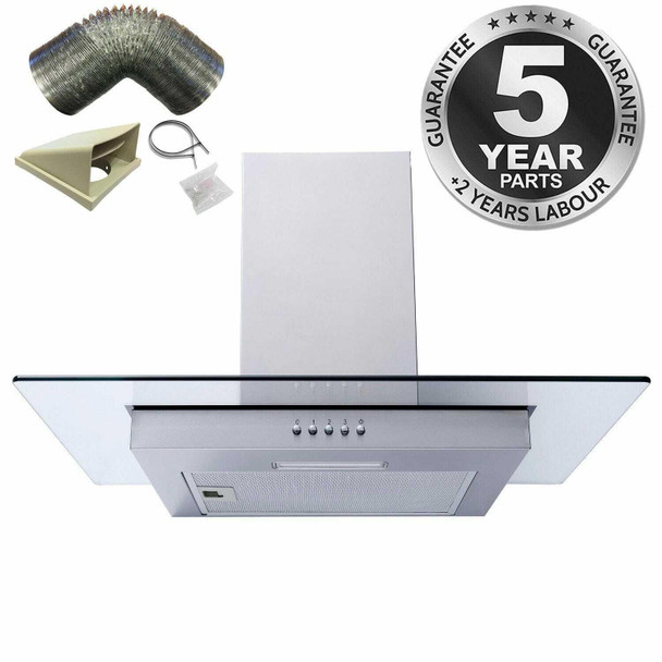 SIA FL61SS 60cm Stainless Steel Flat Chimney Cooker Hood Extractor & 3m Ducting
