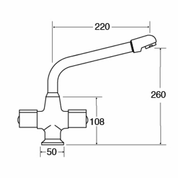 CDA TC20 Chrome Standard Quarter Turn Monobloc Kitchen Tap With 360 Swivel Spout