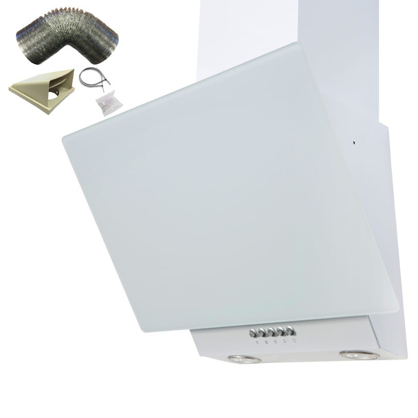 SIA EAG61WH 60cm White Angled Chimney Cooker Hood Extractor Fan & 3m Ducting Kit