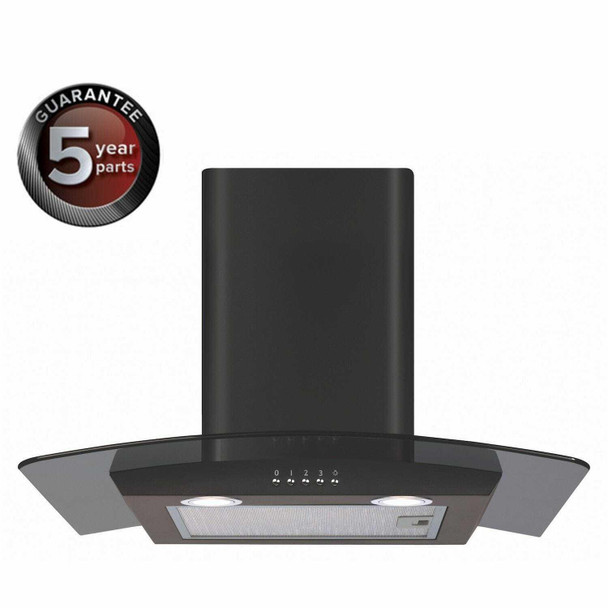 CDA ECP62BL 60cm Black Curved Glass Chimney Cooker Hood Kitchen Extractor Fan