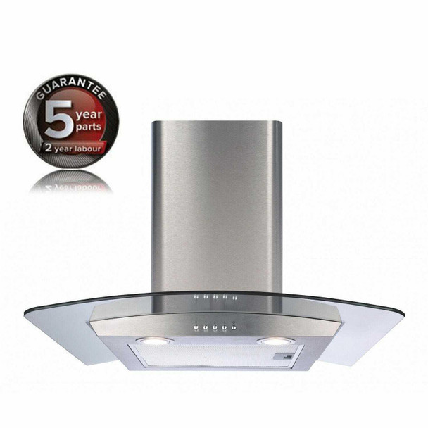 CDA ECP62SS 60cm Stainless Steel Curved Glass Kitchen Cooker Hood Extractor Fan