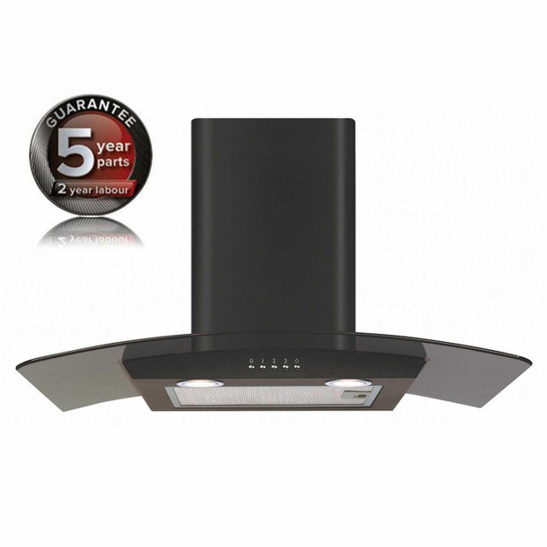 CDA ECP72BL 70cm Black Curved Glass Chimney Cooker Hood Kitchen Extractor Fan