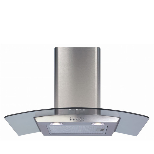 CDA ECP72SS 70cm Stainless Steel Curved Glass Kitchen Cooker Hood Extractor Fan