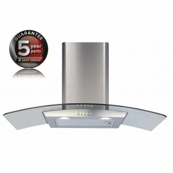 CDA ECP82SS 80cm Stainless Steel Curved Glass Chimney Cooker Hood Extractor Fan