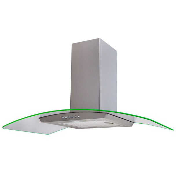 SIA 100cm Stainless Steel 3 Colour LED Edge Lit Curved Cooker Hood Fan & Filter