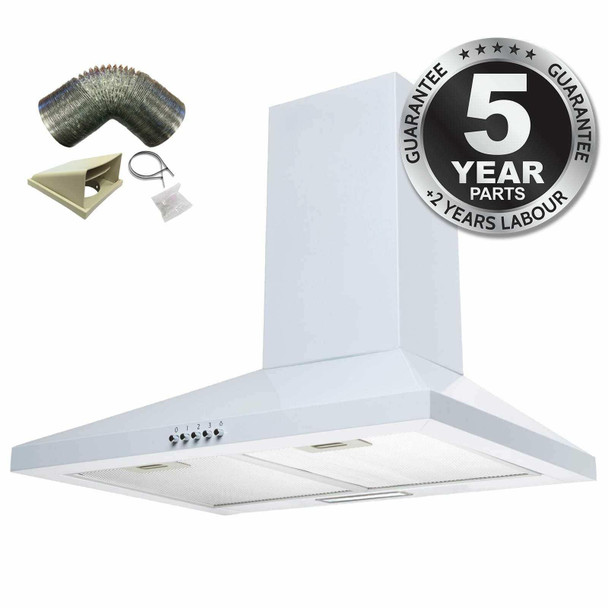 SIA CHL60WH 60cm White Chimney Cooker Hood Kitchen Extractor Fan And 1m Ducting